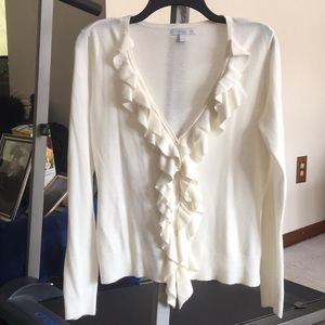 New York & Co. Cream Buttoned Ruffled Sweater L
